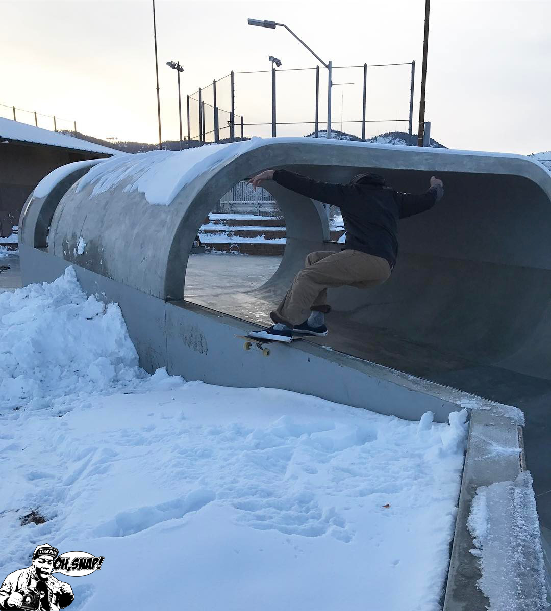 OH SNAP!! Here's @crocktubbs with a slippery board slide in the snowy Big O Replica in Golden, Co! Make sure to follow us on Instagram for more videos/pictures of our one of a kind skate parks. @teampainskateparks